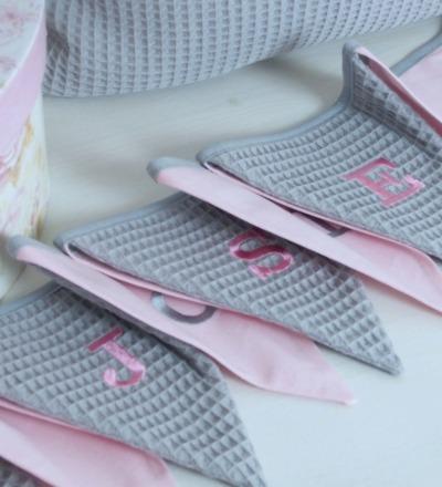 Wimpelkette grau rosa Auf Wunsch mit