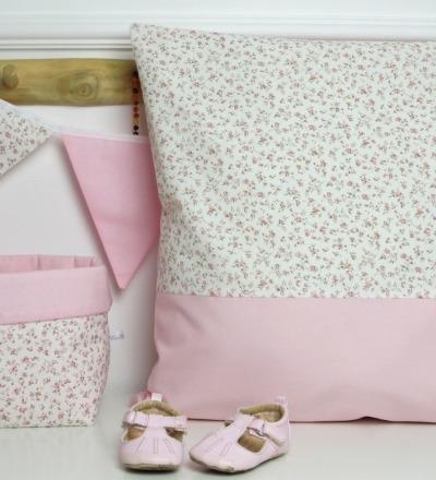 Kissenbezug rosa beige Millefleurs Kissen auf