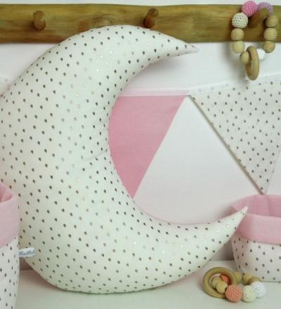 Mondkissen für Kinderzimmer rosa gold Auf