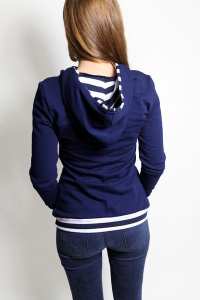 Bio Hoodie Marize dunkelblau / Streifen