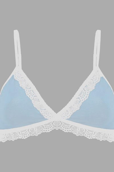 Organic bra Spitze light blue
