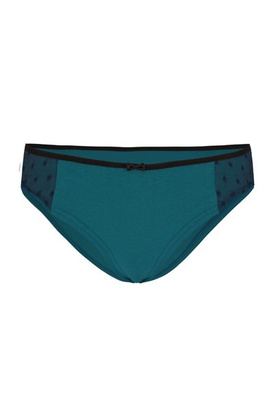 Organic hipster panties Lorelow teal blue