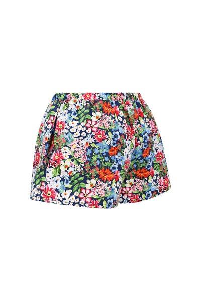 Organic women s shorts Smilla flowers allover