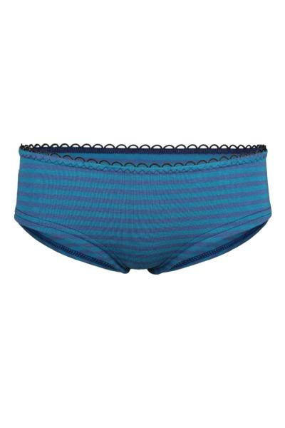 Bio hipster panties teal indico stripes