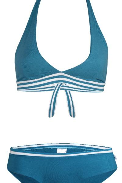 Organic Bikini Fjorde teal stripes Set