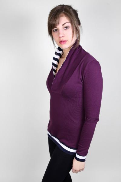 Bio Sweater Kraja bordeaux / Streifen