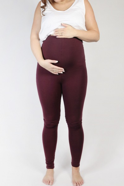 Organic leggings Mama aubergine