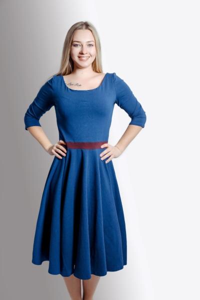 Bio Kleid Vrida dunkelblau / aubergine
