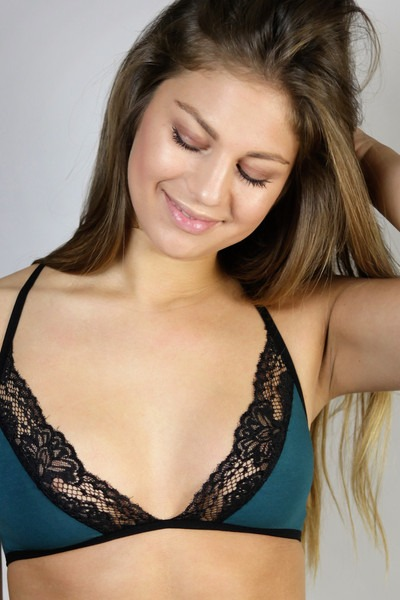 Organic bra Noir smaragd black lace