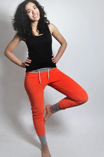 Bio Nickihose orange /cinder Streifen Perle