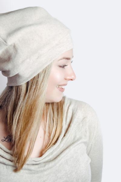 Bio Mütze Lumi Baumwollfleece nude meliert