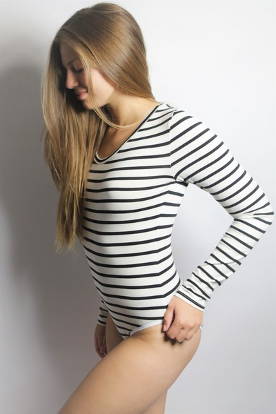 Bio Body Langli weiß/ schwarze Streifen