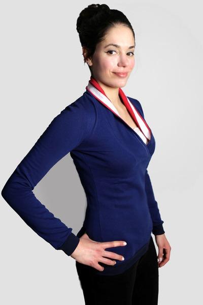 Bio Sweater Kraja blau rot weiß