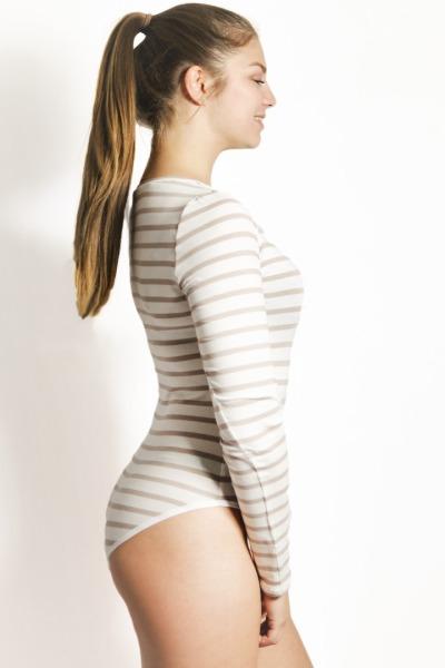 Organic body Langli white off-white stripes