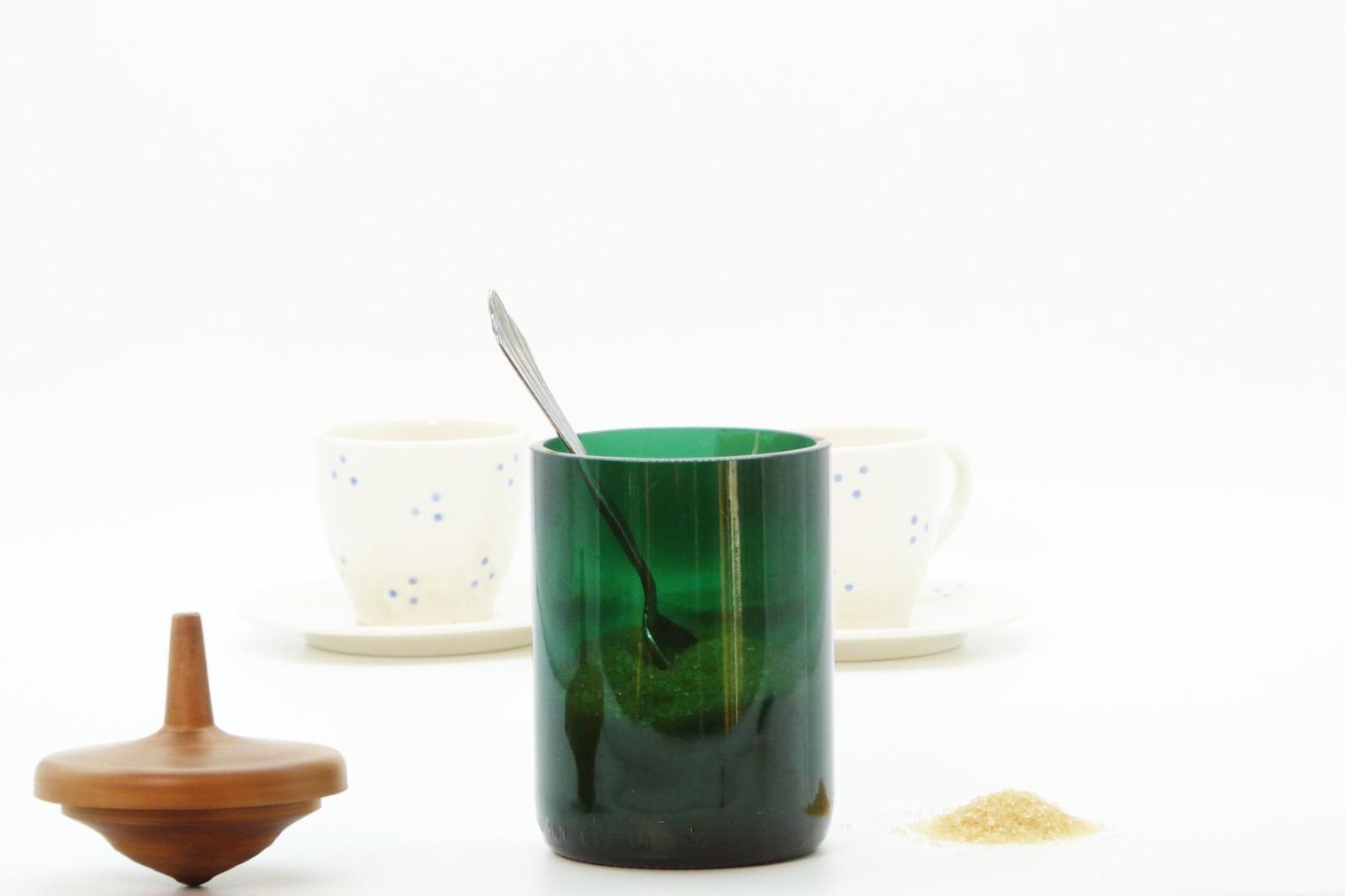 Zuckerdose aus Recyclingglas