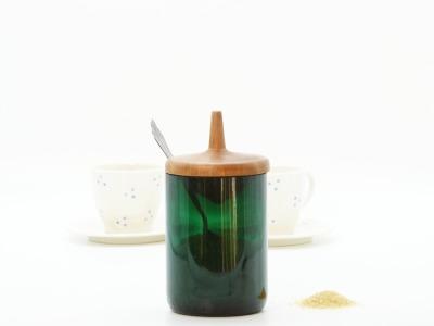 Zuckerdose aus Recyclingglas - mit Kreiseldeckel