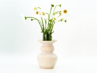 Weisse Holzvase Vase aus Lindenholz mit