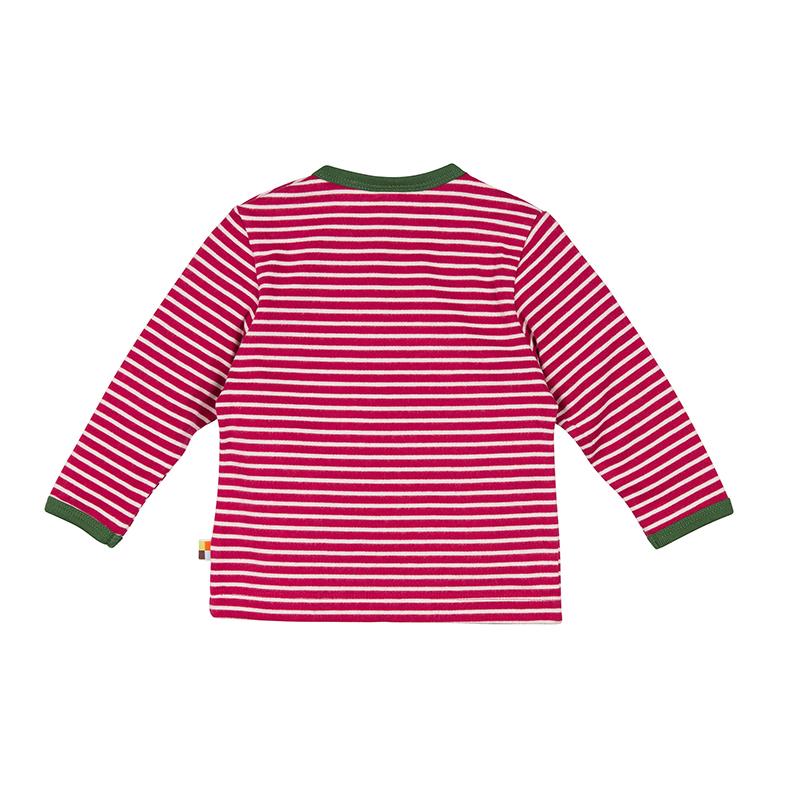 LOUD PROUD Baby Langarm-Shirt geschmirgelt Ringel beere/natur