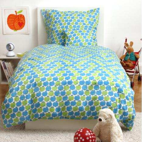 BY GRAZIELA Kinderbettäsche Bettwäsche Apfel blau