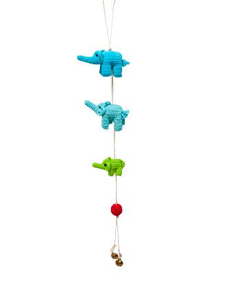 ONE-CLICK WONDERS Mobilé Häkelelefanten blau grün