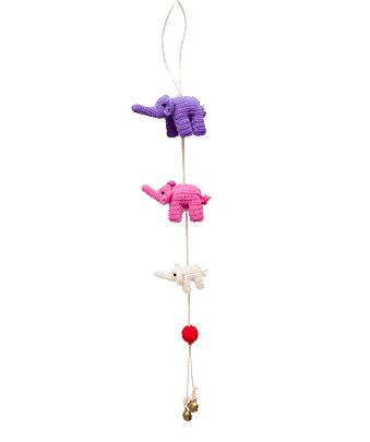 ONE-CLICK WONDERS Mobilé Häkelelefanten lila pink 50 cm
