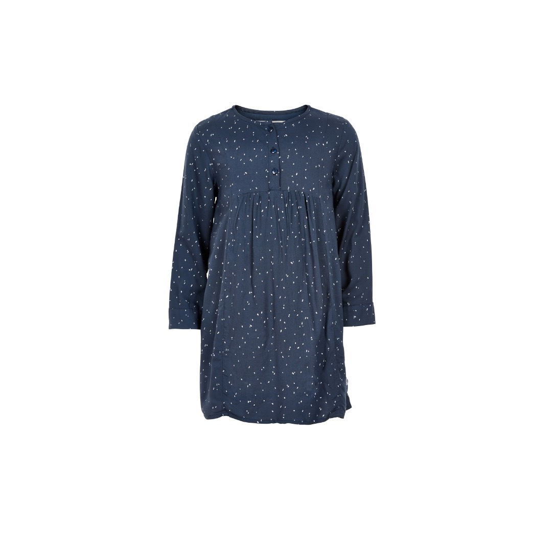 MINYMO Olena Dress Zauberhaftes Kleid Blau mit Punkte weis - 1