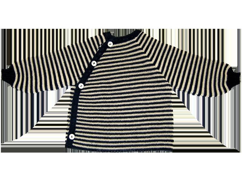 REIFF STRICK / Baby Pullover Schluettli marine/natur 50-68 Merino-Schurwolle kbT