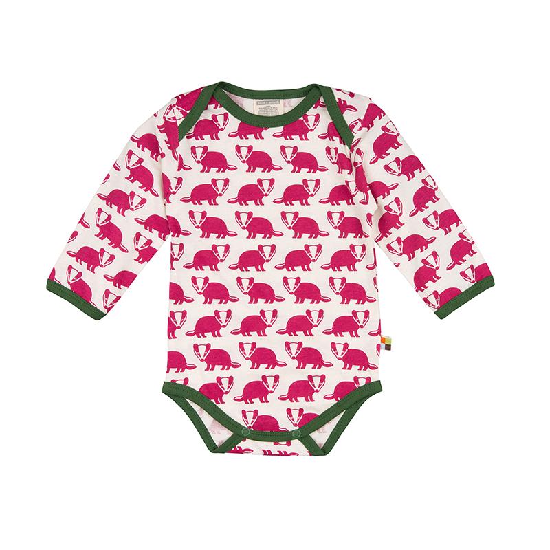 LOUD PROUD Baby Langarm-Body Dachse beere
