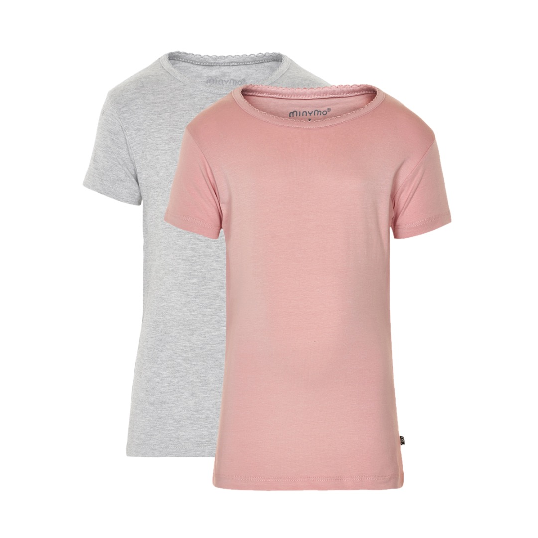 MINYMO T-Shirt Basic 2er Pack rosa