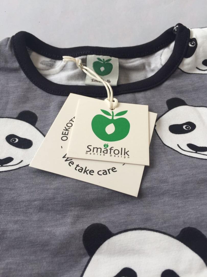 SMAFOLK Kinder Langarm Shirt Panda Gesicht Wilde Dove