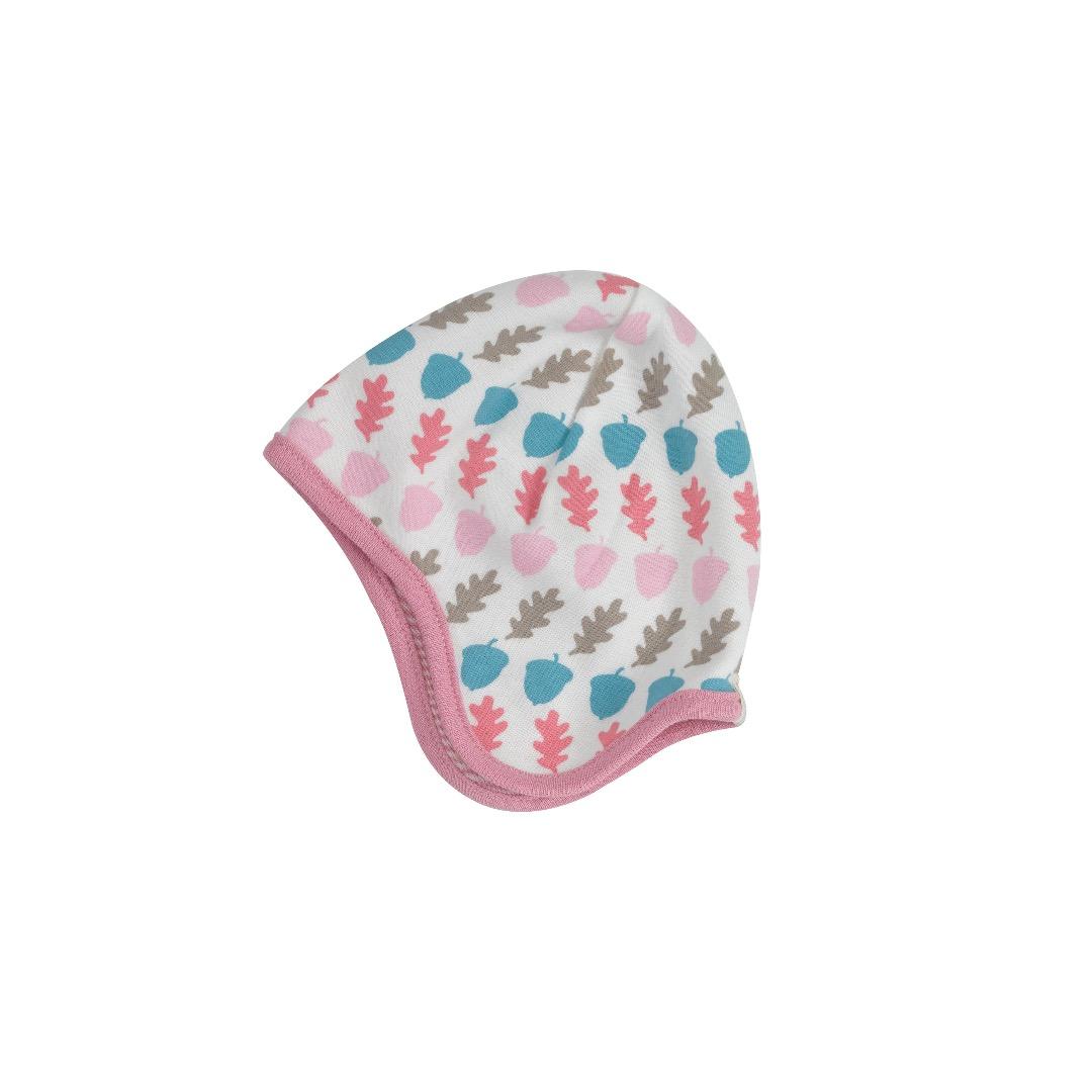 PIGEON Babymuetze Wendemuetze Eicheln rosa Bio Baumwolle