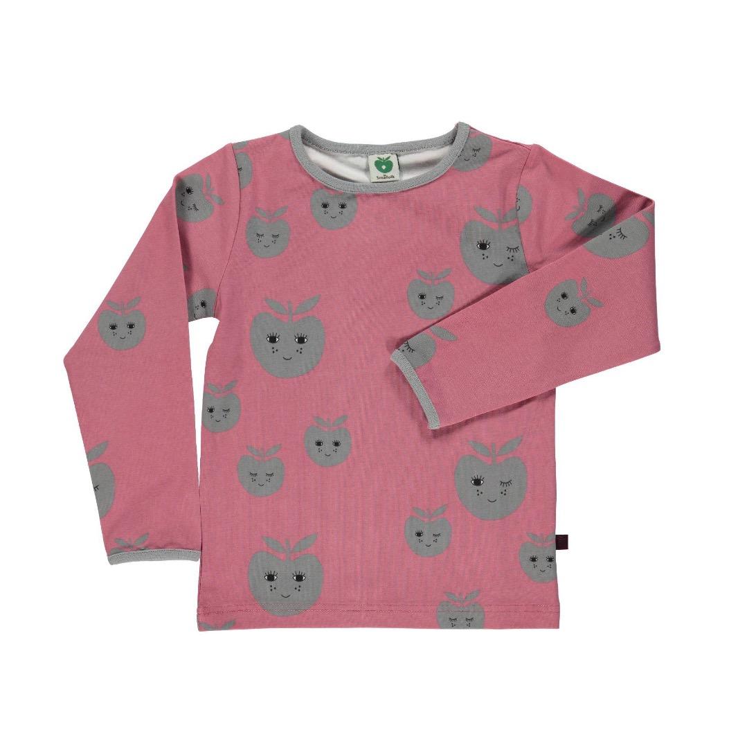 SMAFOLK Shirt l/s rosa mit Apfelgesicht