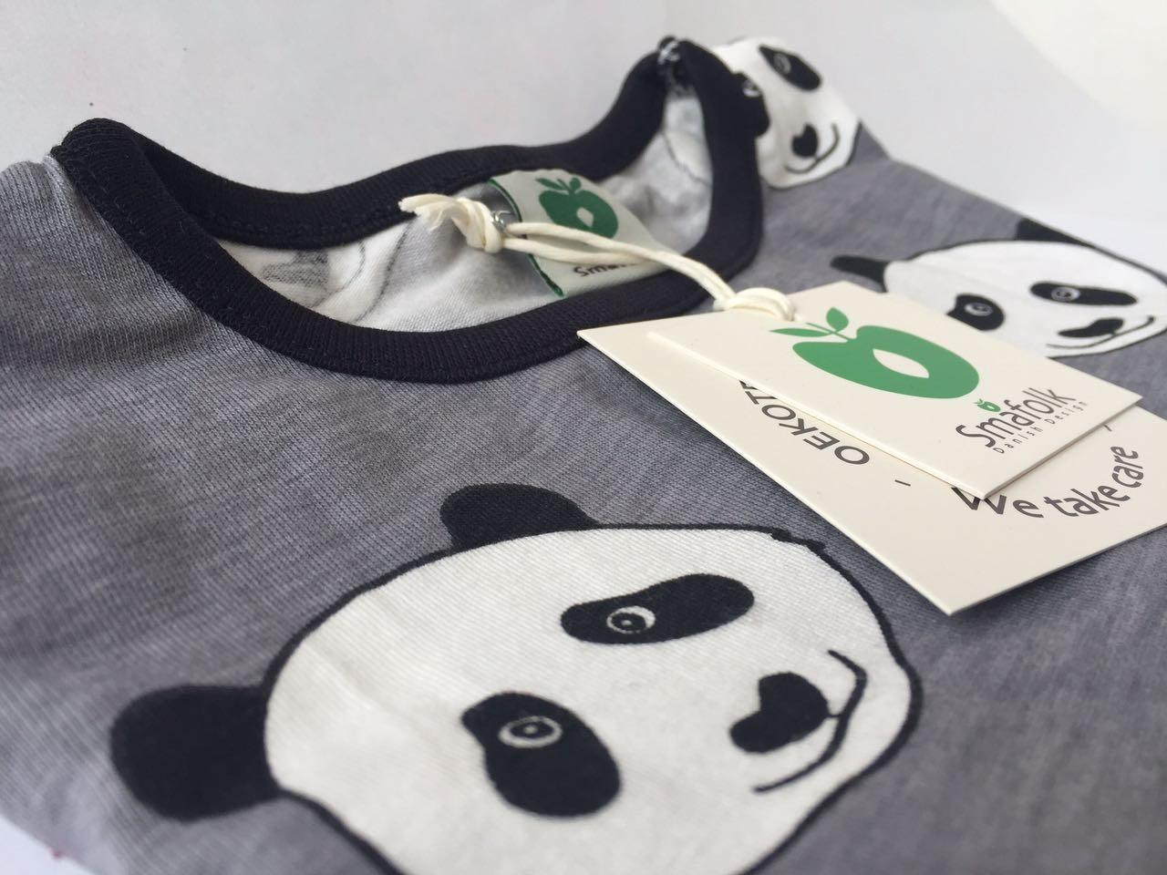 SMAFOLK Kinder Langarm Shirt Panda Gesicht Wilde Dove - 4