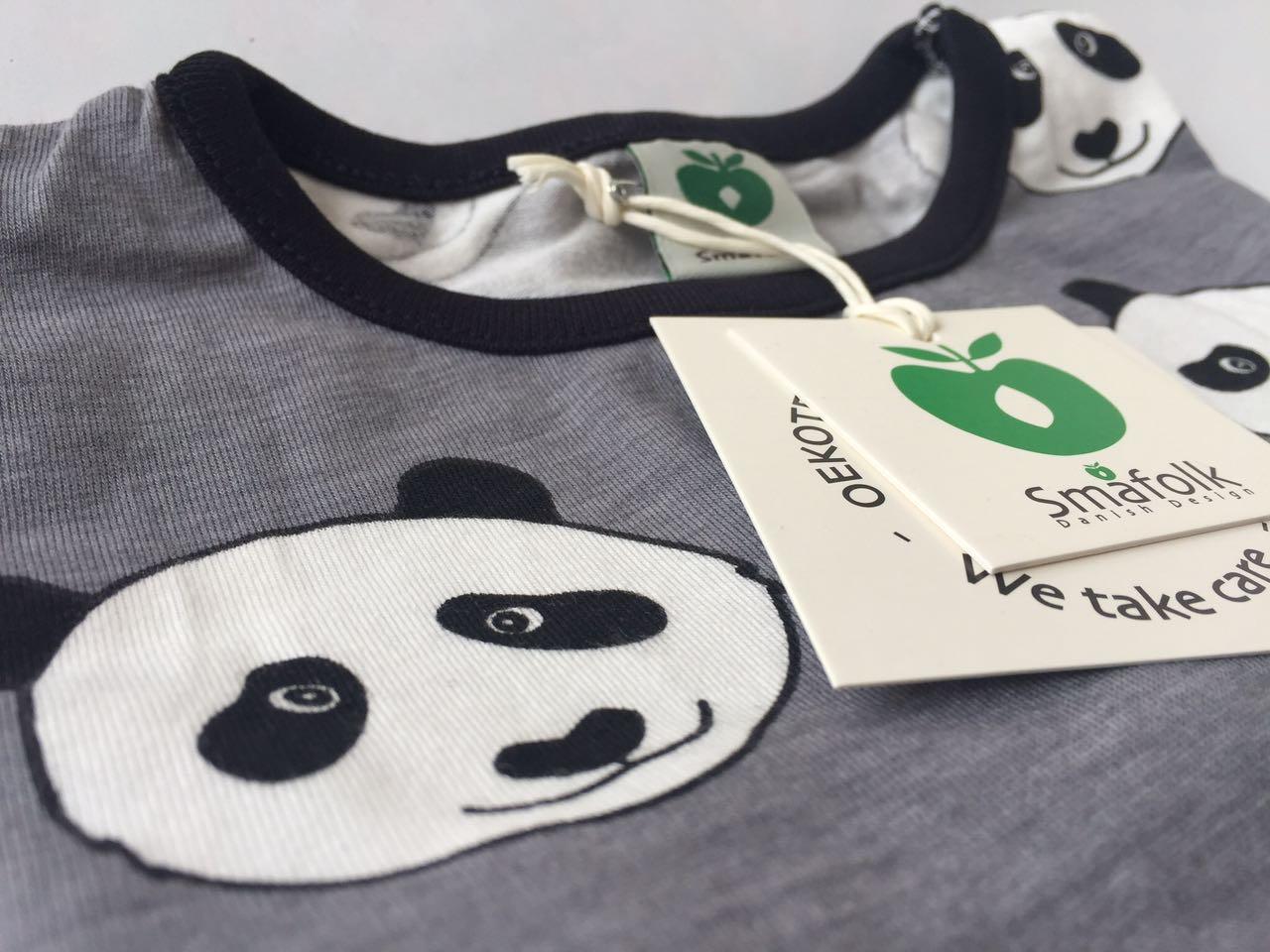 SMAFOLK Kinder Langarm Shirt Panda Gesicht Wilde Dove - 5