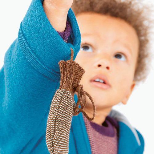 DISANA Strick-Handschuhe blau-natur Merino - Schurwolle kbT