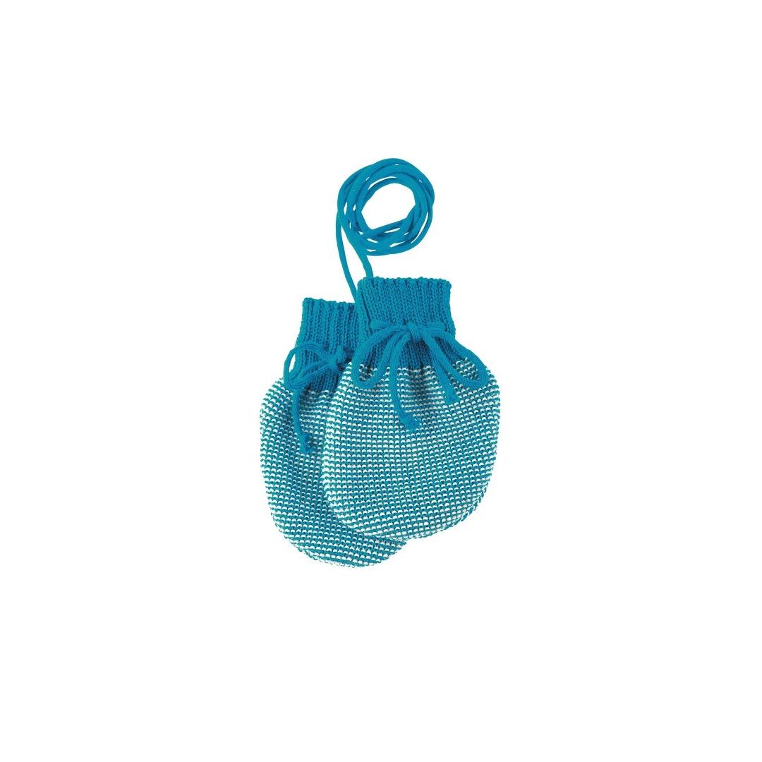 DISANA Strick-Handschuhe blau-natur Merino Schurwolle kbT