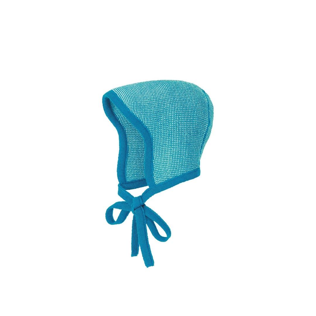 DISANA Baby Strick-Häubchen blau-natur melange Merino