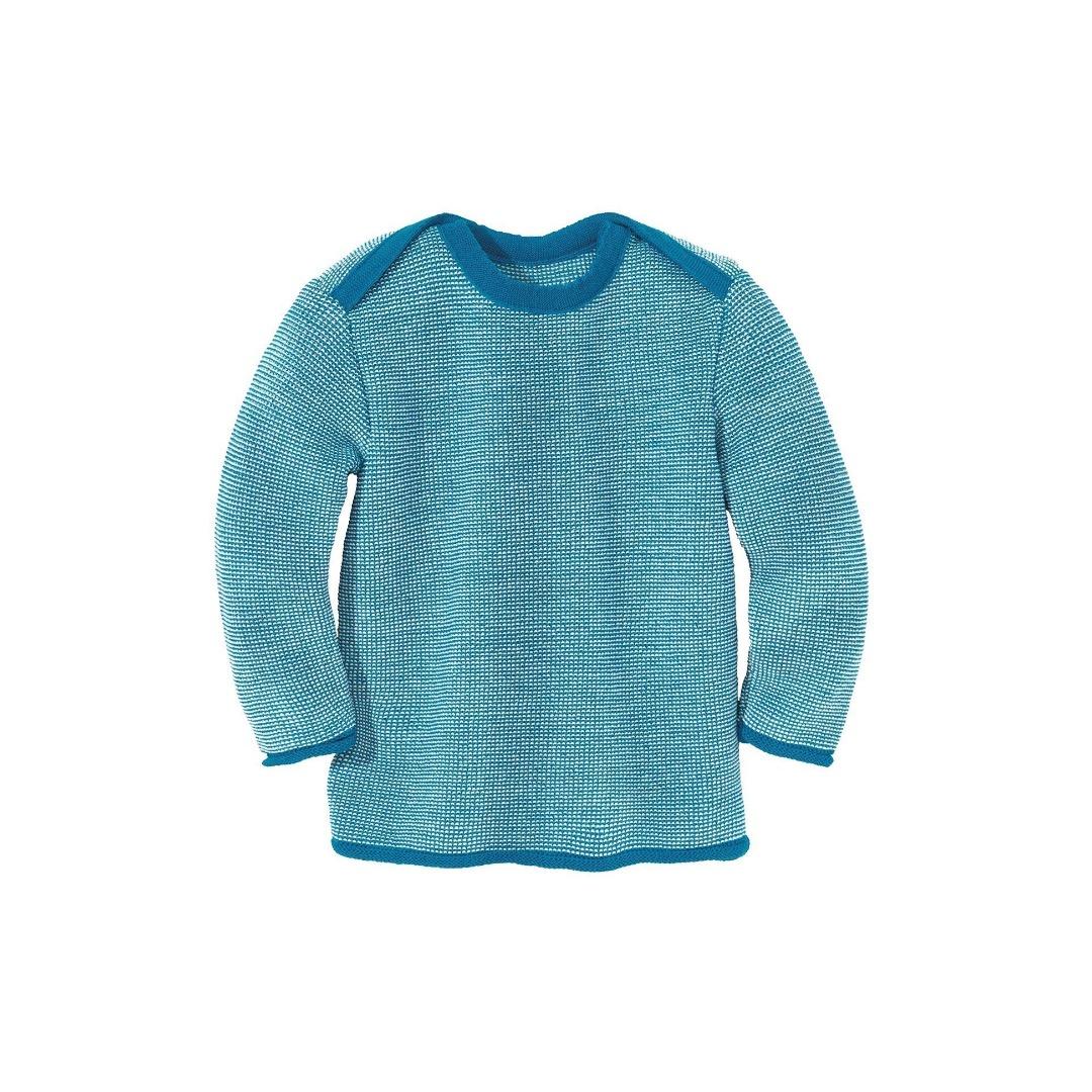 DISANA Baby Strick-Basic-Pullover Baby blau/natur melange 100 Merino - Schurwolle