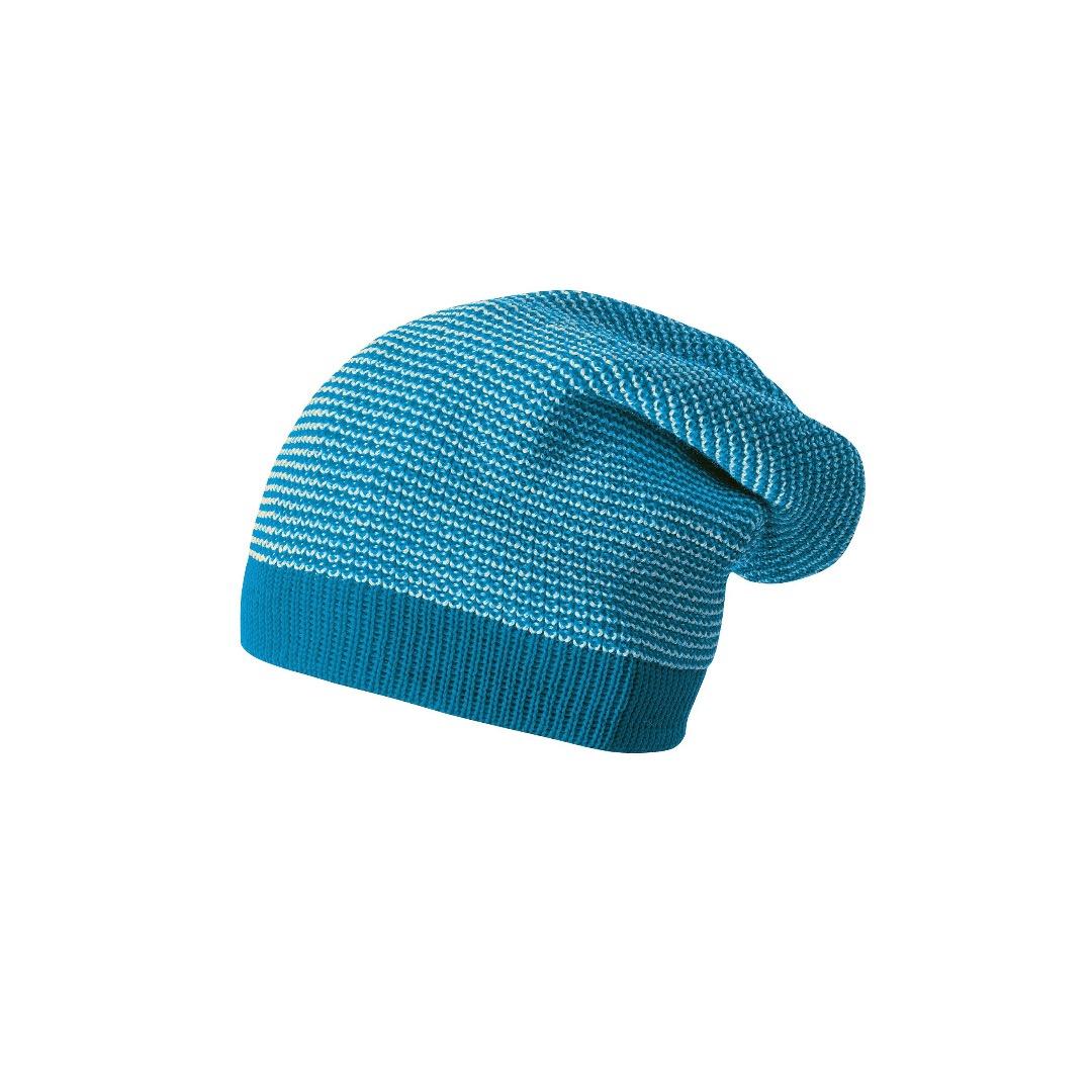 DISANA Strick-Long-Beanie Blau natur melange Merino