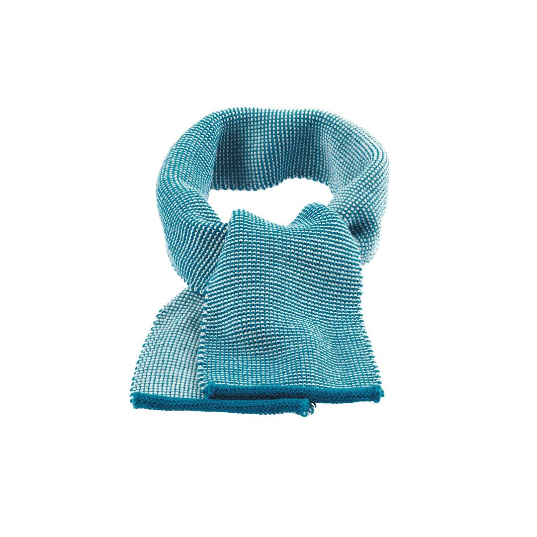 DISANA Strick-Melange Schal blau-natur Merino Schurwolle kbT - 1