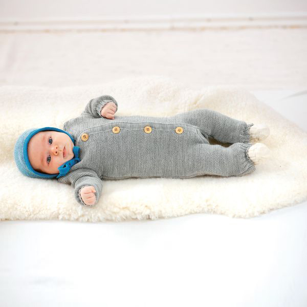 DISANA Baby Strick-Haeubchen grau-natur melange Merino Schurwolle kbT