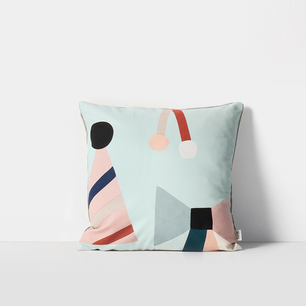 FERM LIVING Party Cushion - Mint Party Kissen Schleifenmotiven Mint 40 x 40 - 2