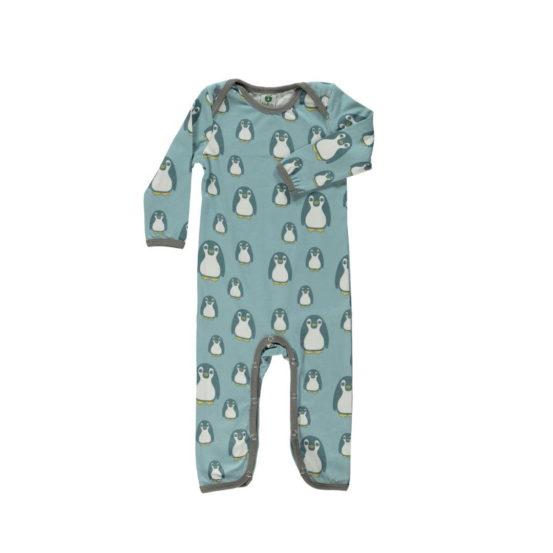 Smafolk Baby Strampler Spieler Jumpsuit ELTERN mit baby Pinguine Stone Blue