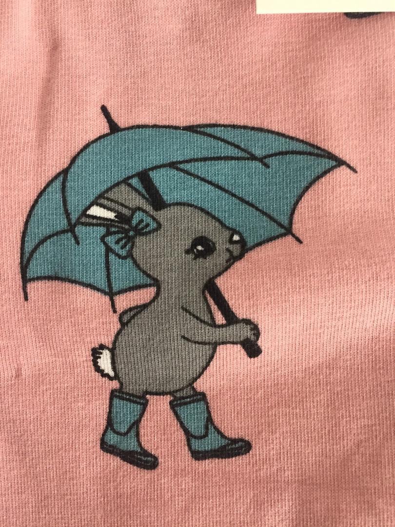 Smafolk Baby Strampler Spieler Jumpsuit Hase mit Regenschirm Sliver Pink - 4