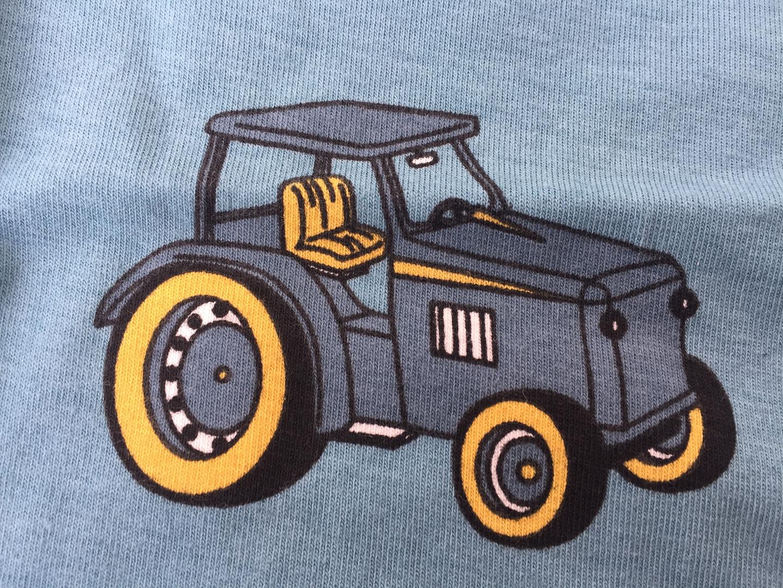 Smafolk Baby Body Langarm Traktor Stone Blue