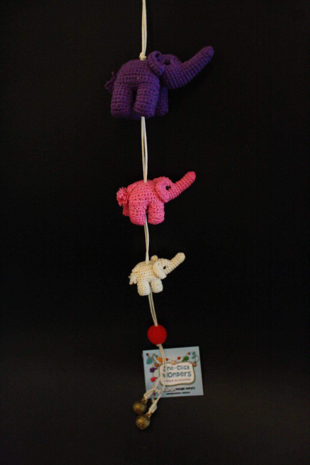 ONE-CLICK WONDERS Mobilé Häkelelefanten lila pink 50 cm - 4