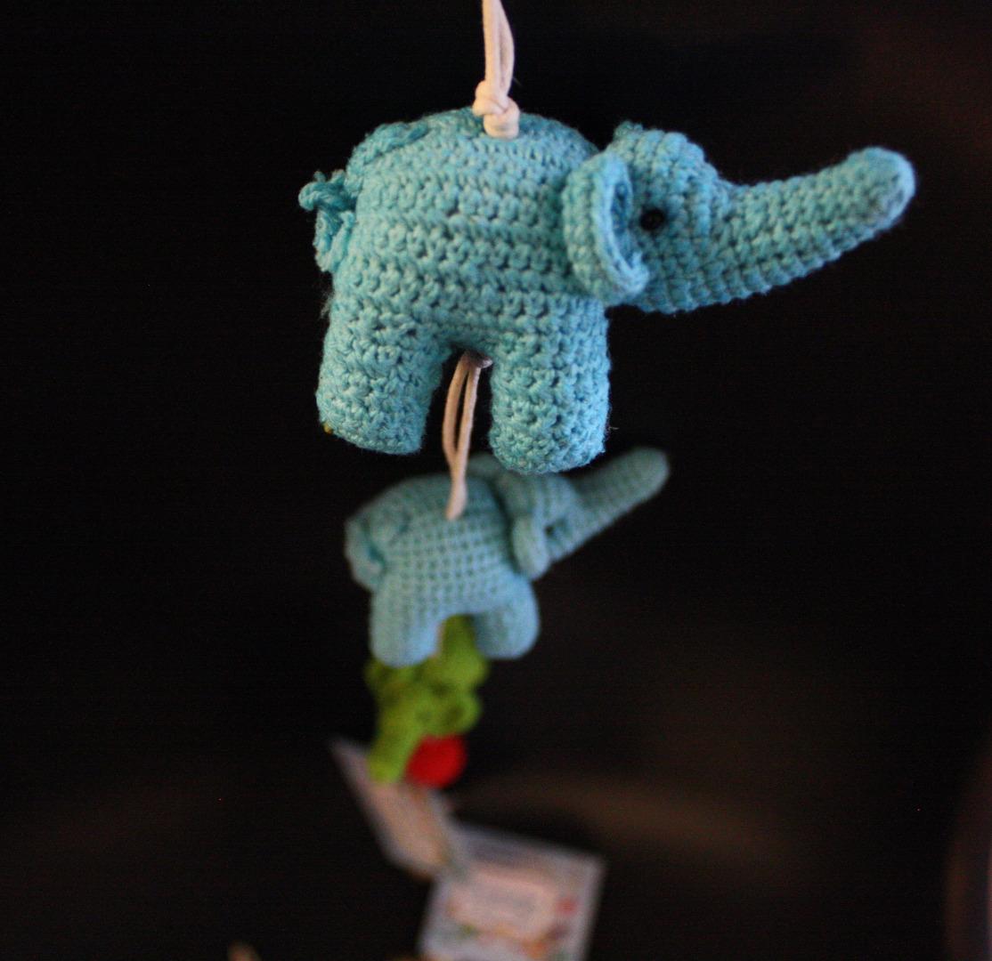 ONE-CLICK WONDERS Mobilé Häkelelefanten blau grün 50 cm - 2