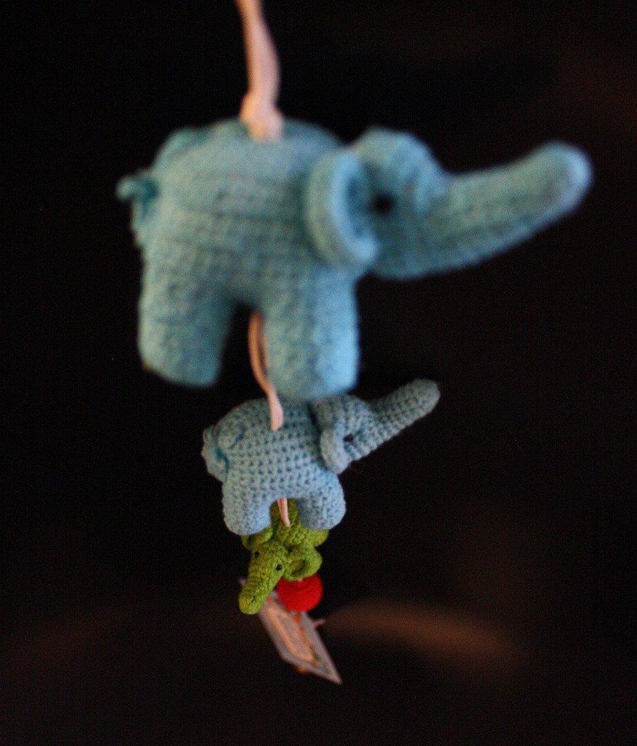 ONE-CLICK WONDERS Mobilé Häkelelefanten blau grün 50 cm - 3