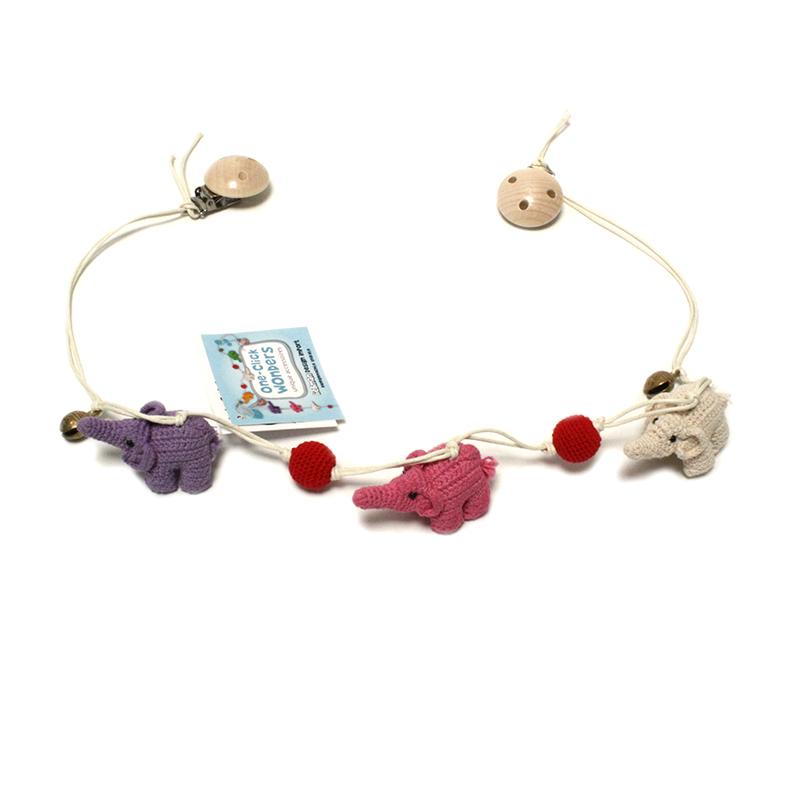ONE-CLICK WONDERS Wagenkette Häkelelefanten lila pink - 1