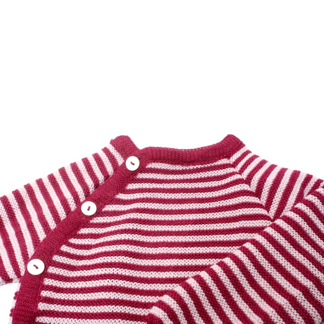 REIFF STRICK / Baby Pullover Schlüttli beere/rosa 74-92 Merino-Schurwolle kbT